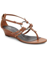 Giuseppe Zanotti Link Leather Wedge Sandals - Lyst