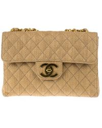 Chanel   Pre-owned: Vintage Straw Jumbo Flap Bag   Lyst