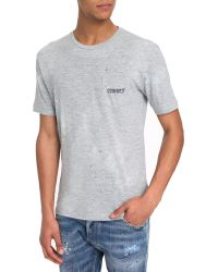 DSquared² Flecked Grey Jersey Pocket T-Shirt - Lyst