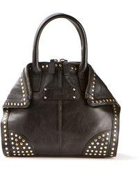 Alexander McQueen Black Calfskin Manta Shoulder Bag Embellished with Gold and Silver Studs - Lyst