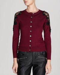 Karen Millen Cardigan - Beaded Lace Shoulder Knit - Lyst
