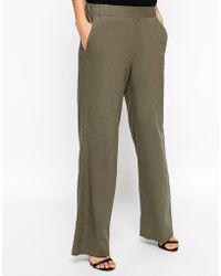 Asos Linen Wide Leg Trouser - Lyst