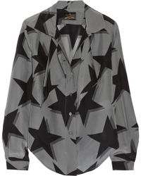 Vivienne Westwood Anglomania Approval Printed Crepe De Chine Shirt - Lyst