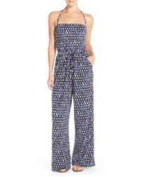 Robin Piccone | Convertible Print Jersey Cover-up Jumpsuit | Lyst