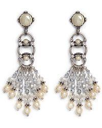 Miriam Haskell Pearl Crystal Drop Earrings - Lyst