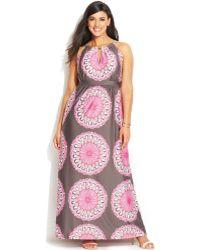 Inc International Concepts Plus Size Printed Keyhole Maxi Dress - Lyst