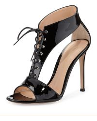 Gianvito Rossi Patent Leather T-Strap Lace-Up Sandal - Lyst