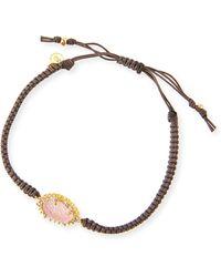 Tai Gray Braided Bracelet with Pink Druzy - Lyst