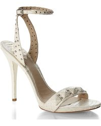 Brian Atwood Ivory Studded Snake Sandals - Lyst