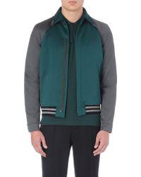 Lanvin Twotoned Bomber Jacket Emeralddk Grey - Lyst