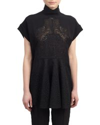 Stella McCartney Embroidered Lace-Paneled Tunic Top - Lyst