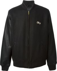 Obey Embroidered Logo Bomber Jacket - Lyst