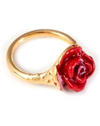 Leivan Kash Rose Enamel Pinky Ring - Silver & Red - Lyst