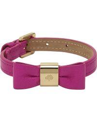 Mulberry Leather Bow Bracelet purple - Lyst