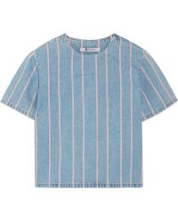 T By Alexander Wang Striped Denim Top - Lyst