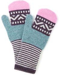 Quinton-chadwick - Pink Stripe Cuff Lambswool Mittens - Lyst