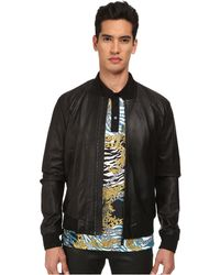 Versace Perforated Leather Jacket black - Lyst