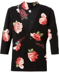 Blumarine Lace Insert Rose Print Top - Lyst