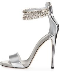 Giuseppe Zanotti Metallic Leather Crystal-Embellished Sandal - Lyst