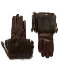 Portolano Rabbit Fur Fringe Gloves - Lyst