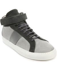 National Standard Edition 5 Nubuck And Black And Grey Leather Sneakers - Lyst