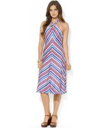 Ralph Lauren Lauren Striped Halter Dress - Lyst