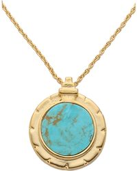 Pamela Love Inlay Dial Pendant Necklace - Goldturquoise - Lyst