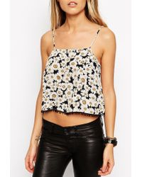 Asos Cropped Daisy Print Cami Top floral - Lyst