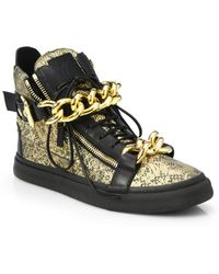 Giuseppe Zanotti Double-Chain Metallic Lace-Printed Leather High-Top Sneakers - Lyst