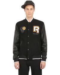 Reebok Wool  Nylon Pump Varsity Jacket - Lyst