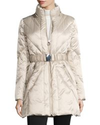 Laundry By Shelli Segal Hooded Satin Down Jacket - Lyst