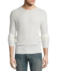 John Varvatos | Textured Knit Drop-sleeve Crewneck Sweater | Lyst