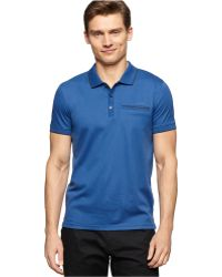 Calvin Klein Slim Fit Polo blue - Lyst