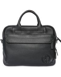 Giorgio Armani | Hammered Leather Briefcase | Lyst