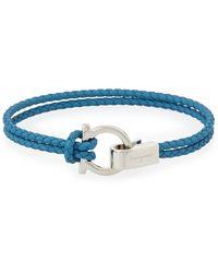 Ferragamo - Men's Braided Leather Gancini Bracelet - Lyst