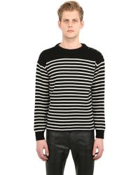 Saint Laurent Striped Cotton & Wool Sweater - Lyst