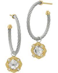 Charriol - White Topaz Cablehoop Earrings - Lyst