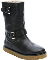 Stella McCartney Black Faux Leather 'Harper' Lined Boots - Lyst