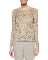 Lafayette 148 New York Leopard-Mesh Long-Sleeve Sweater - Lyst