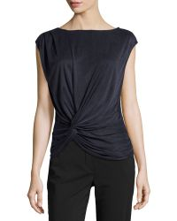 Halston Heritage Twisted Draped Cupro Top - Lyst