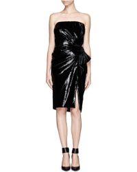 Lanvin Velvet Bow Tube Dress - Lyst