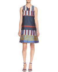Suno Sleeveless Placed-stripe V-neck Shift Dress - Lyst
