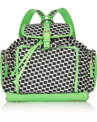 Pierre Hardy Neon Leather-trimmed Printed Cotton-canvas Backpack - Lyst