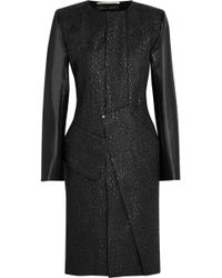 Roland Mouret Oniciato Leathertrimmed Jacquard Coat - Lyst