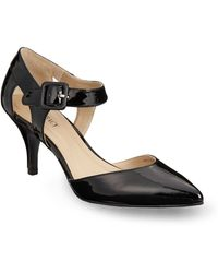 Ellen Tracy Bardot Faux Leather Ankle Strap Pumps - Lyst