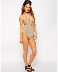 Mileti - Halter One Piece Swimsuit With Rectangle Gold Detail - Lyst