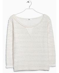 Mango Stripe Textured Sweatshirt - Lyst