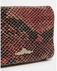 Urbancode - Leather Red Snake Flapover Purse - Lyst