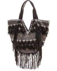 Antik Batik Pare Tote with Feathers - Black - Lyst