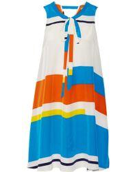 Issa Striped Silk Crepe De Chine Dress - Lyst
